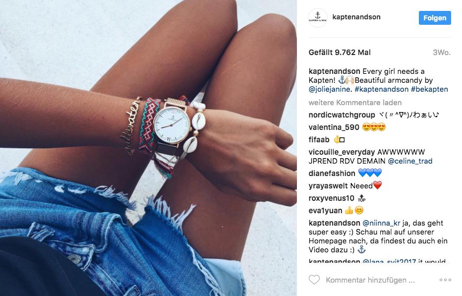 Beispiel eines Instagramprofils mit Werbung durch Influencer