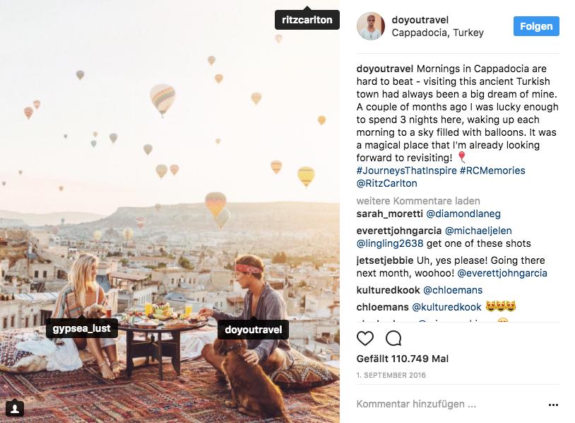 Post bei Instagram über die Ballonfahrten in Cappadocia