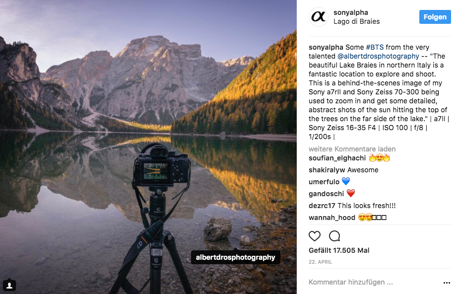 Instagram-Post über den Prager Wildsee in Südtirol
